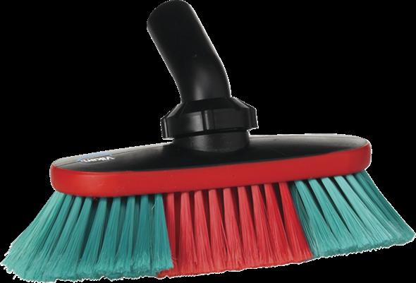Vikan Autobürste mit Wasserdurchlauf und Drehgelenk, 250 mm, weich/gesplisst, schwarz